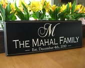 Personalized Family name sign  Bridal Shower gift last name sign 6 x 16 Engraved Custom