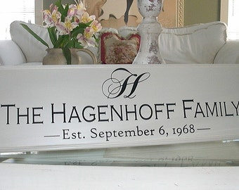 FAMILY NAME SIGN.....Carved Personalized Family Name Sign Wedding 8X24