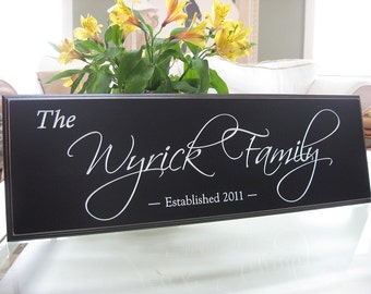 Carved Personalized Family Name Sign...8 x 24 Family Name Sign.....Great Wedding Gift 5R10