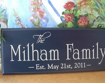 FAMILY NAME Sign Carved Wood Personalized Family Name Sign 4R28