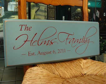 Personalized Family Name Sign, Carved Anniversary gift, Wedding 4R2