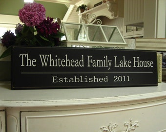 The Family Lake House / Personalized Lake House Sign / Beach House Decor / Carved Personalized Family Name Sign  8 x 30
