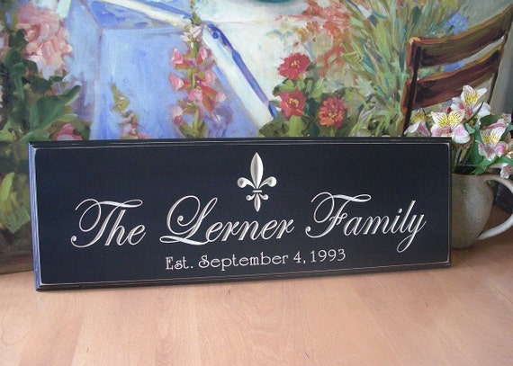 Personalized Wedding Gift....8 x 24 Black Engraved Family Name Sign with fleur de lis...