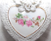 A Heart of Roses Vintage Heart Shaped Trinket Box Shabby Chic Chippy Collectibles