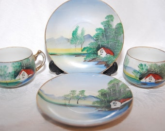 The Little Cottage Lake House, Hand Painted Tiny Teacup and Saucer Set Lot of Four Decorative Pieces for Use in Wedding Display