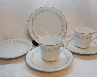 Elegance by Sheffield Fine China, White Rose Demitasse Expresso Cup and Saucer Set, Lot of 6 Vintage Replacement Pieces