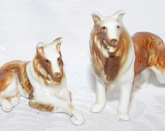 Collie Couple Two Miniature Porcelain Collies Lot of 2 Fine Collectible Dogs for Dog Loving Bridal Couple at The Rose Rooms