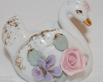 Antique Swan Couple Salt and Pepper Shakers-Figurines with Pink Roses and Purple Violets at The Rose Rooms