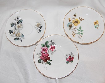 Vintage Royal Kendall Floral Botanical Gold Trimmed Fine Bone English China Saucers, Set of 3 Wedding Decor Items