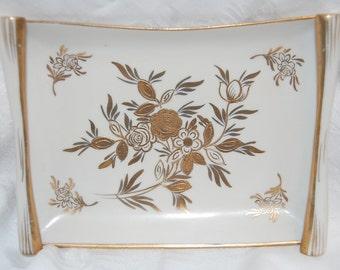 Ultra Glamorous Hollywood Regency Original Artmart Creation Gold Rose Porcelain Scroll Wedding Ceremony Dish