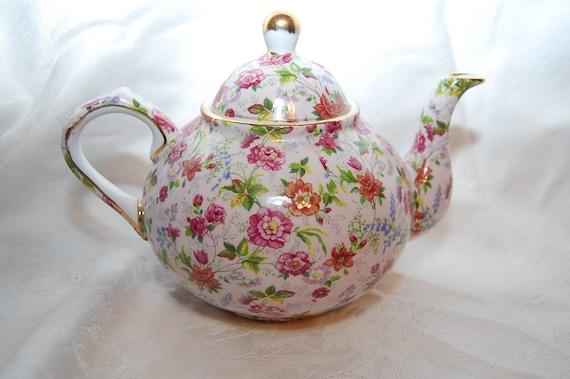 Vintage Floral Formalities Fine Porcelain Chintz Teapot by Baum Bros