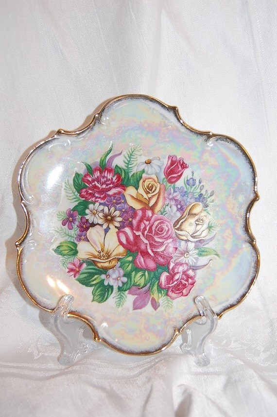 Pink Roses Lustreware Lusterware Plate from Lipper & Mann Creations Japan at The Rose Rooms