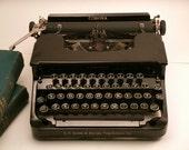RESERVED -1930s Corona Standard Typewriter- Glossy Black, Floating Shift, Glass Keys, Hard Case with Bakelite Handle