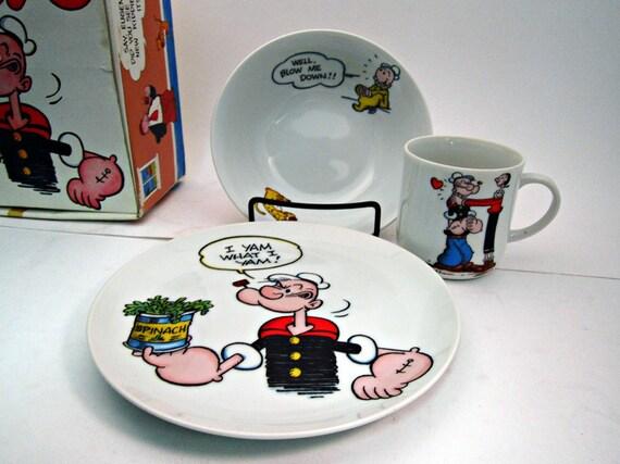 1980 Kids Popeye Dining Set  Plate / Bowl / Mug
