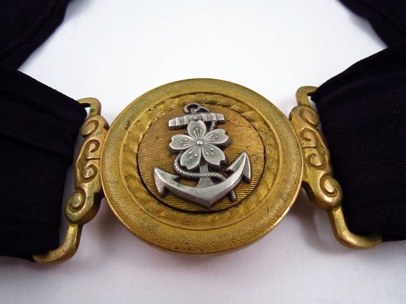 WWII Japanese Imperial Navy Belt Brass Buckle Fouled Anchor & Cherry Blossom