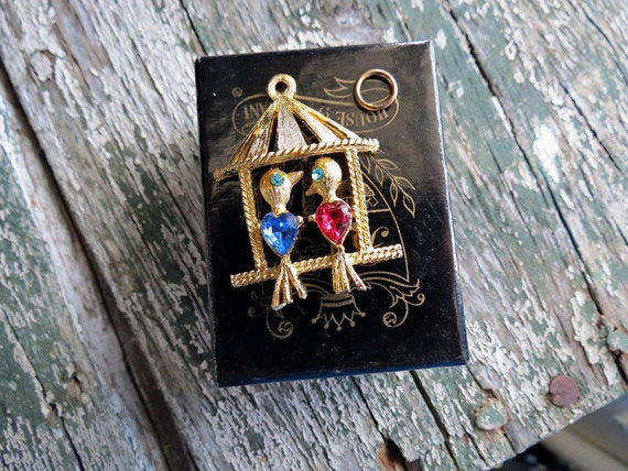 House of Borvani HOBCO Love Birds Charm 24KT Gold Plate 1960s