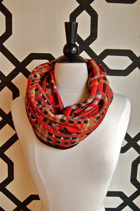 Reserved for Anka Retro Red Orange and Abstract Magenta and Chartreuse Tuesday Infinity Scarf