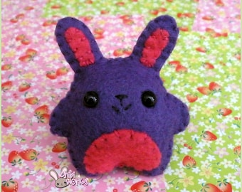 Pink and Purple Felt Rabbit Broach