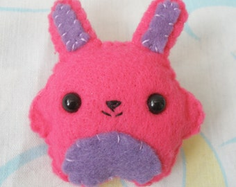 Purple and Pink Felt Bunny Brooch
