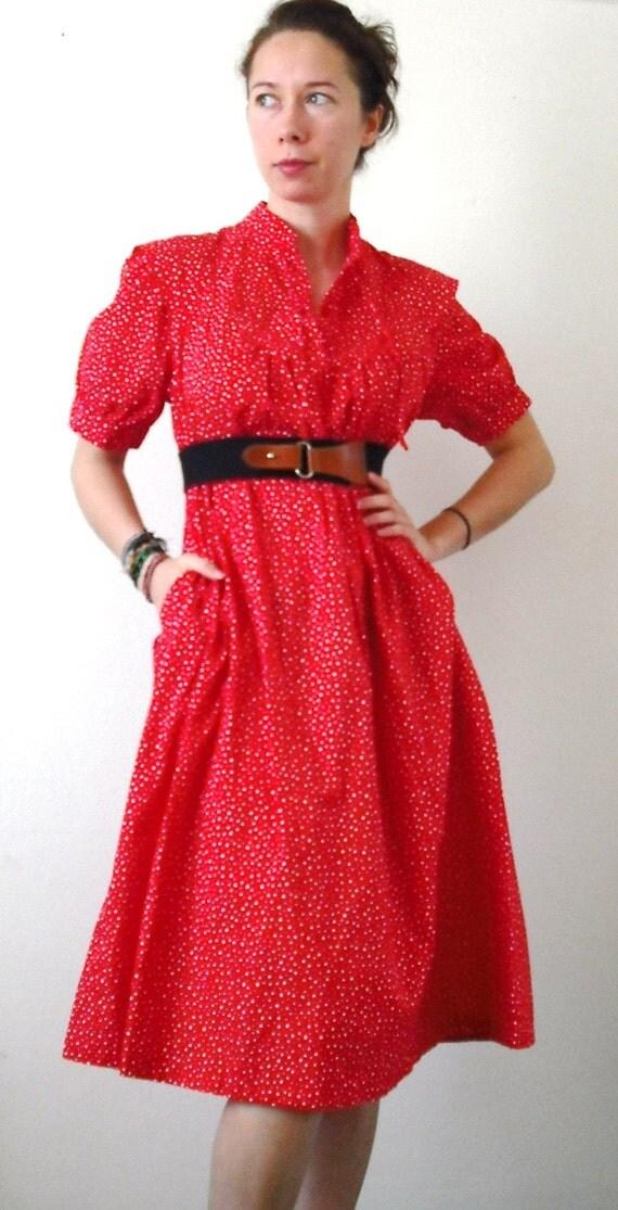 SALE - 1970s Polka-Dot Cotton Dress