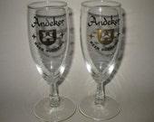 Vintage long stemmed Andeker Beer Glasses