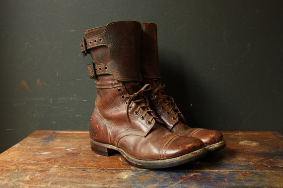 Double Buckle Army Paratrooper Combat Boots / Size 9