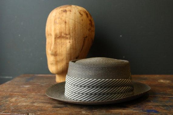 RESERVED Straw Hat /  Pork Pie Hat / Barcelona Mens  6 7/8