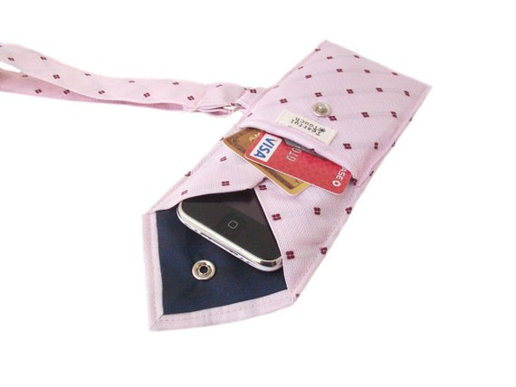 Recycled Necktie Wristlet Strawberry Pink (iPhone Blackberry Droid HTC Samsung Sidekick iTouch iPod MP3 or Camera Case)