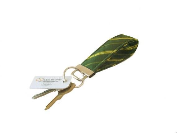 Lemon Lime Stripes on Forest Green Key Fob Recycled Necktie Key Chain Wristlet