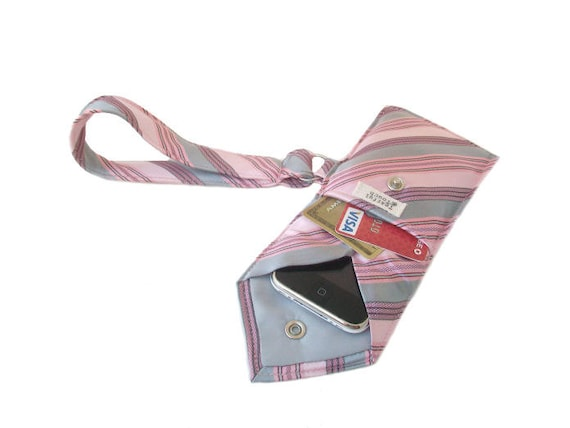 Pink Gray Striped Recycled Necktie Cell Phone Wristlet (iPhone Blackberry Droid HTC Samsung Smartphone iTouch iPod MP3 or Camera Case)