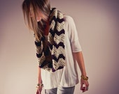 CHEVRON CIRCLE SCARF - chunky chevron stripe circle scarf cowl (oatmeal & grape)