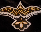 embroidered soaring raven with celtic knot work iron on patch
