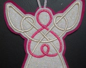 pink and silver embroidered celtic knot work angel tree ornament