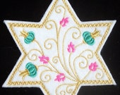 elegant embroidered Gold jewish star iron on patch