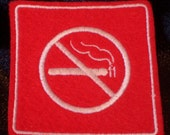 embroidered no smoking iron on patch