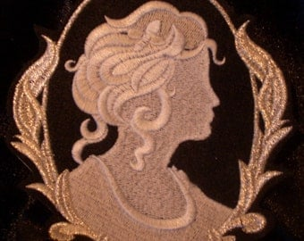 Silver metallic thread embroidered cameo iron on patch