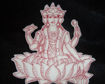 redwork embroidered Brahma iron on patch
