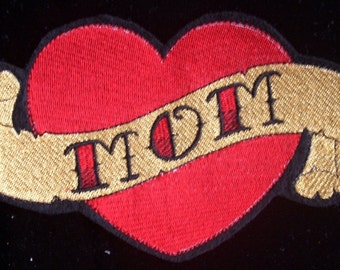 7 inch Embroidered mom heart tattoo iron on patch