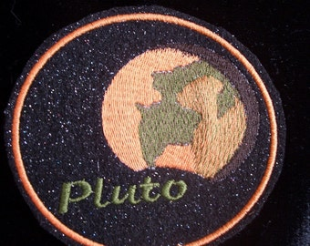 4 inch sparkly stars  Pluto embroidered iron on patch