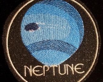 4 inch planet neptune embroidered iron on patch