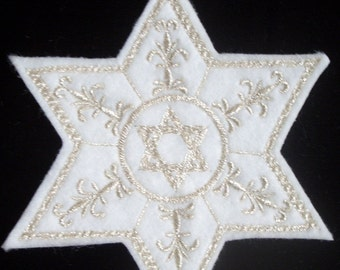 silver star of david embroidered iron on patch