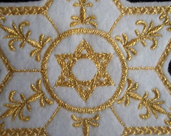 gold star of david embroidered iron on patch