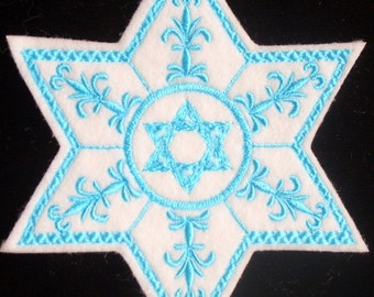 star of david embroidered iron on patch