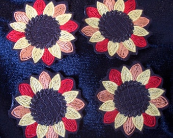 set of 4 embroidered sunflower iron on patches