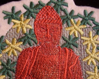 5.5 inch Buddha in forrest embroidered iron on patch