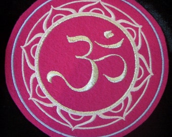 5 inch embroidered silver and pink OM / AUM iron on patch