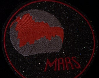 4 inch planet Mars embroidered iron on patch