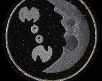 3.5 inch moon embroidered iron on patch