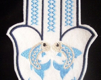 6.75 inch silver and blue embroidered fish hamsa iron on patch