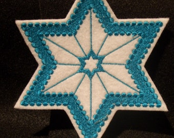 single color Star of David embroidered iron on patch many uses